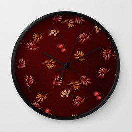 Burgundy Leaves and Berries Wall Clock