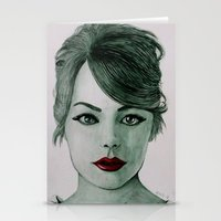 emma stone Stationery Cards featuring Emma Stone  by Kristy Holding