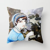 jane austen Throw Pillows featuring Jane Austen by Makissima