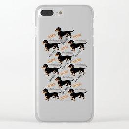 Black Tan Smooth Dachshund Clear iPhone Case