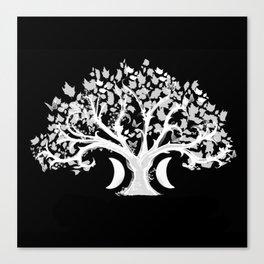 The Zen Tree - White on Black Canvas Print