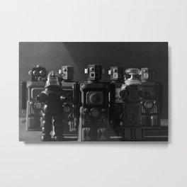 Robot Crew - Black & White Metal Print