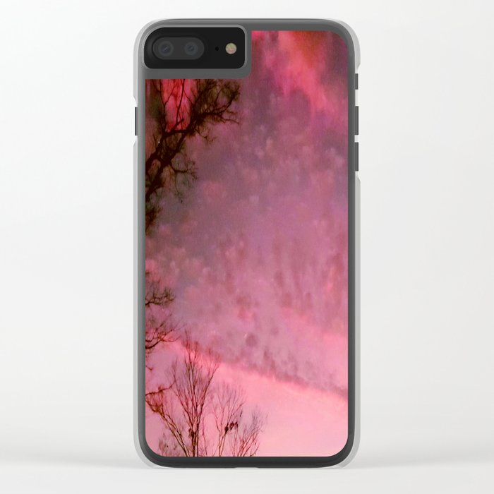 Red Night sky Clear iPhone Case