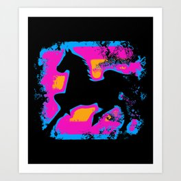 Colorful Western-style Horse Silhouette Art Print