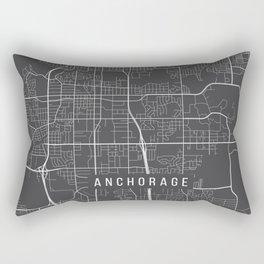 Anchorage Map, Alaska USA - Charcoal Portrait Rectangular Pillow
