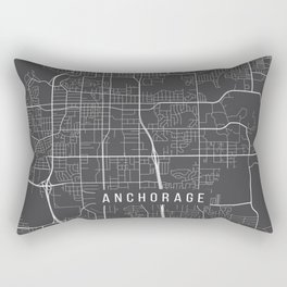 Anchorage Map, Alaska USA - Charcoal Portrait Rectangular Pillow