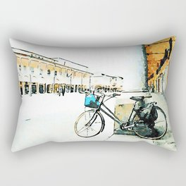 Faenza: bicycle leaning against a column Rectangular Pillow