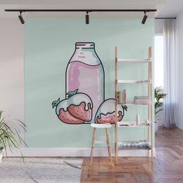 Cute Strawberry Milkshake Wall Mural