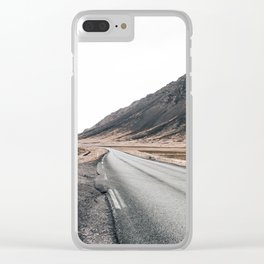 Hitting an icelandic Road Clear iPhone Case