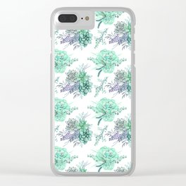 Succulents Mint Green Lavender Lilac Violet Pattern Clear iPhone Case