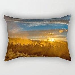 Misty Gold Mountain Sunset Rectangular Pillow