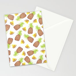 Hand Painted Watercolor Tropical Pineapples Stationery Cards