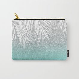 Modern tropical white palm tree silver glitter ombre on robbin egg blue turquoise Carry-All Pouch