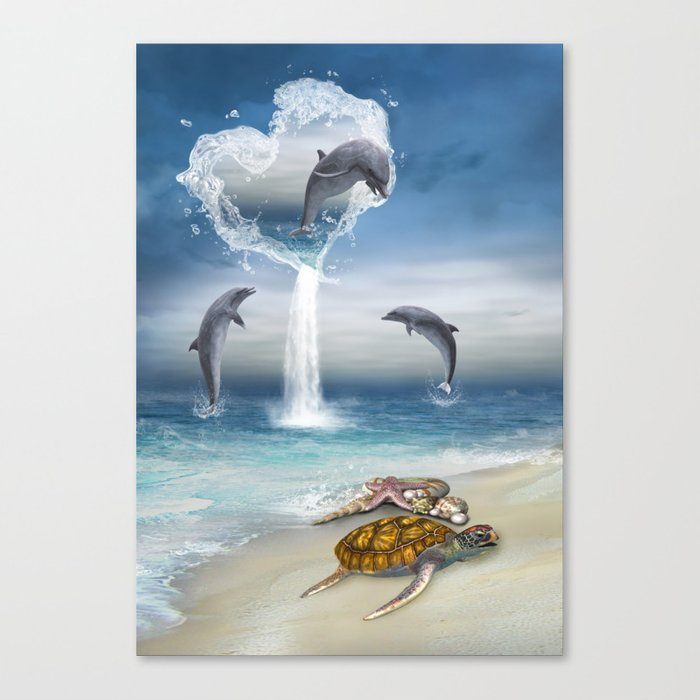 The Heart Of The Dolphins Canvas Print