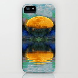 SURREAL RISING GOLDEN MOON BLUE REFLECTIONS iPhone Case