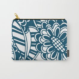 Geometric Floral Pattern in Graphic Bold Blue Carry-All Pouch