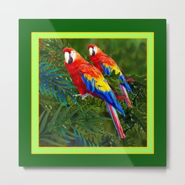 GREEN JUNGLE 2 RED MACAW PARROTS Metal Print