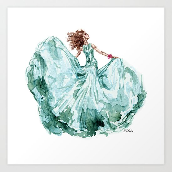 Fashion Blue Turquoise Teal Dress Girl Art Print