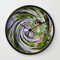 pixies Wall Clocks featuring Green Flower fairy by Just Kidding