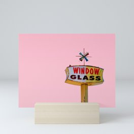 Atomic Pink Starburst - Vintage Googie-Style Sign with Pink Background Mini Art Print