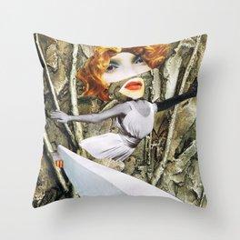 bird - collage Throw Pillow