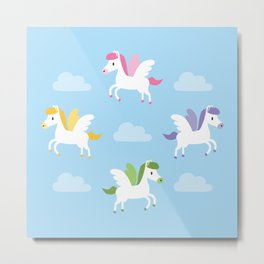 Cute winged horses Metal Print