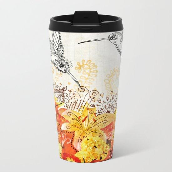 Hummingbird Garden Metal Travel Mug