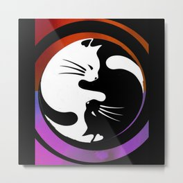 black & white yin yang cats Metal Print