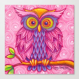 Owl in Pink Canvas Print