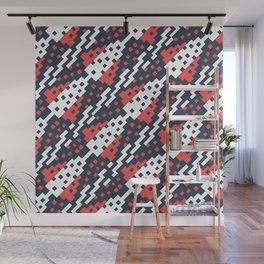 Chocktaw Geometric Square Cutout Pattern - Candy Cane USA Wall Mural