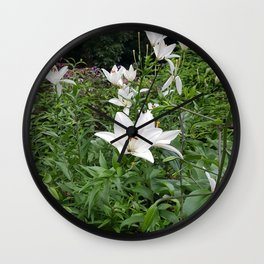 Japanese Lilies // Flower Field Bush In Park Wall Clock
