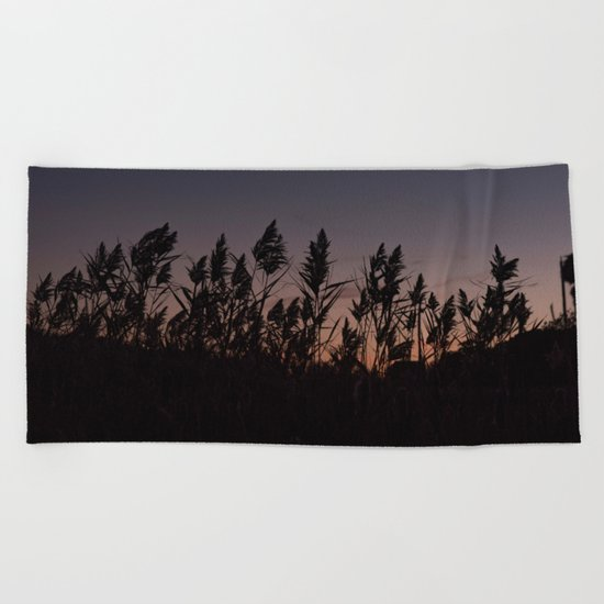 Phragmites silhouette at sunset Beach Towel