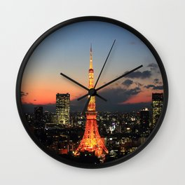 Tokyo Tower By Night Wall Clock