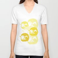 one line V-neck T-shirts featuring One line by Stefanmp
