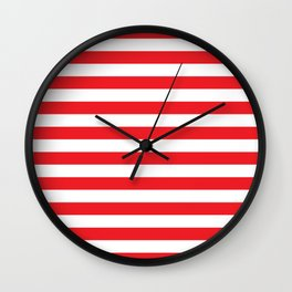 Horizontal Red Stripes Wall Clock