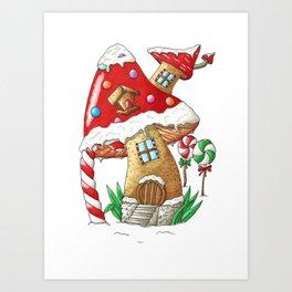 Mushroom gingerbread house Art Print