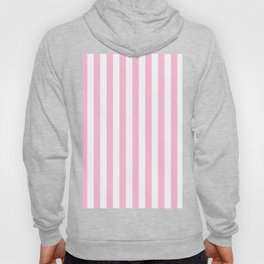 Narrow Vertical Stripes - White and Cotton Candy Pink Hoody