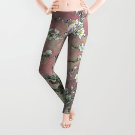 Almond Blossom - Vincent Van Gogh (pink pastel and cream) Leggings