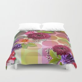Flowers, Circles, & Colorful Abstract Duvet Cover