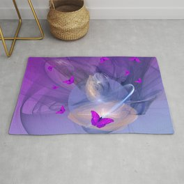 Birth of butterfly wishes Rug
