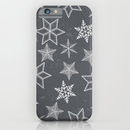 Snowflakes on grey background iPhone Case