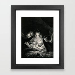 The Nativity, Virgin Mary with Infant Jesus surrounded by Angels Framed Art Print