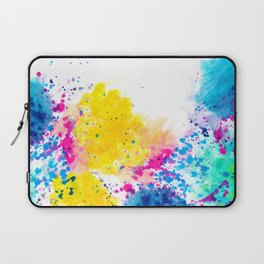 Blue Yellow Abstract Watercolor Neon Pink Splatter Laptop Sleeve