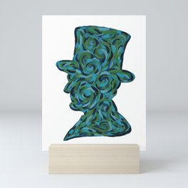 President Abraham Lincoln Blue and Green Swirling Abstract Silhouette Painting Mini Art Print