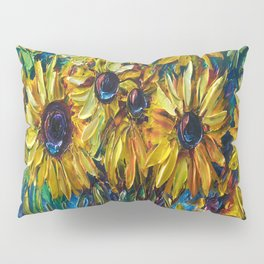 Sunflowers In A Vase Palette Knife Painting Pillow Sham