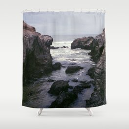 Dark and Rocky Coastline Shower Curtain