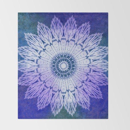 tie dye sunflower mandala in blues by mpzstudio