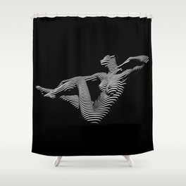 0043-DJA Zebra Stretching Nude Woman Yoga Black White Abstract Curves Expressive Line Slim Fit Girl Shower Curtain