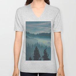 Misty Blue Watercolor Mountains Pine Trees Silhouette Minimalist Monochromatic Photo Unisex V-Neck