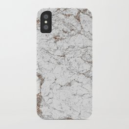 White frost - rose gold marble iPhone Case